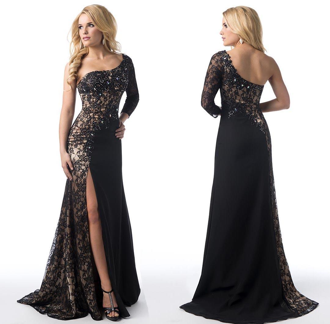 2015-sheer-lace-black-evening-dresses