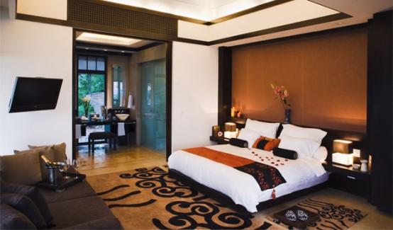 Asian design of bedroom