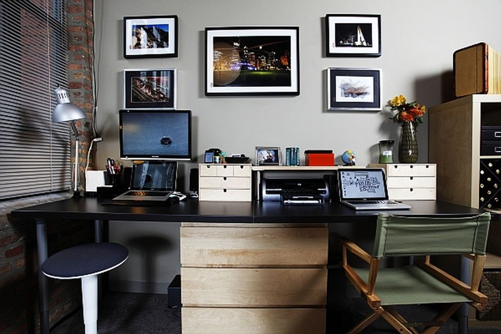 Awesome Home Office Ideas for Men Desk Small Stools Grey Interior Wall Accents Elegant Home Office Decoration Magnificent desk home office furniture Modern Style 1024x683 - View Modern Home Office Design Ideas For Small Spaces PNG