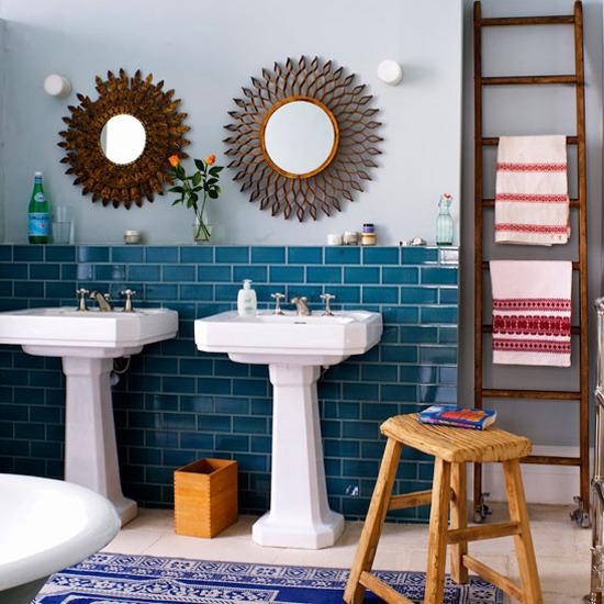 Bathroom-Tile-Ideas-Eclectic-Bathroom-With-Teal-Brick-Tiles-Listed-In-Simple-Eclectic-Blue-Bathroom-Ideas