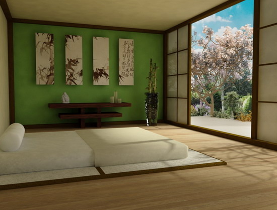 Beautiful-Asian-Bedroom-Design-with-Artistic-Wall-Art