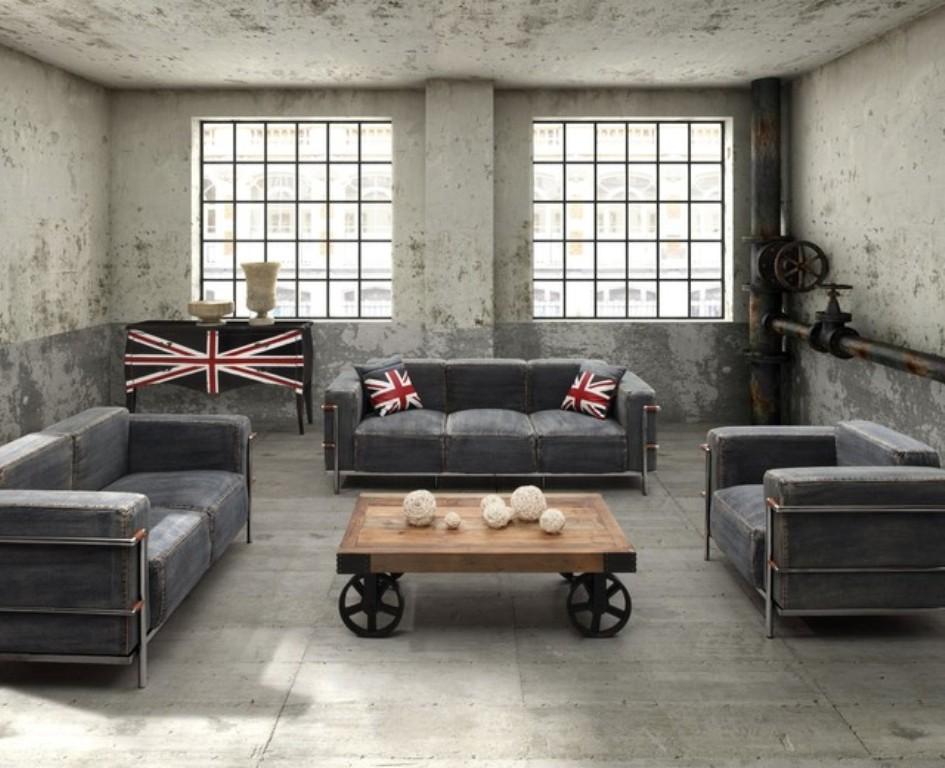 Cool-Industrial-Living-Room