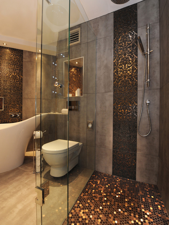 Dazzling-eclectic-bathroom-design-with-unique-sunset-tile-themed-with-shower-head-and-lovely-white-bathtub-and-pretty-lighting-ideas