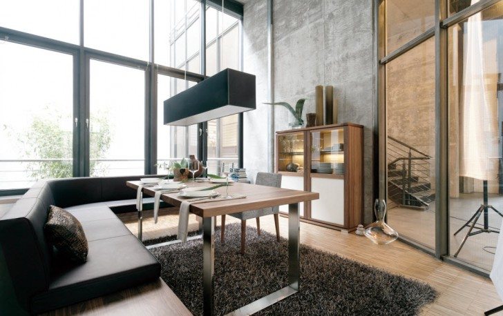 Imposing-dining-room-interior-design-with-modern-ideas-with-pendant-lamp-and-rug-under-dining-table-728x458