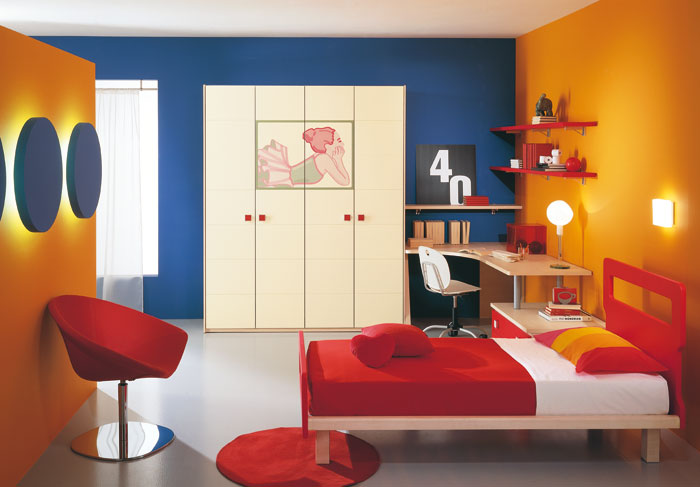 Red-Chair-ans-Bed-for-Contemporary-Wall-Art-Kids-Room