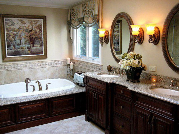 Remarkable-traditional-bathroom-decorating-ideas-with-beautiful-picture-wall-design-and-white-bathub