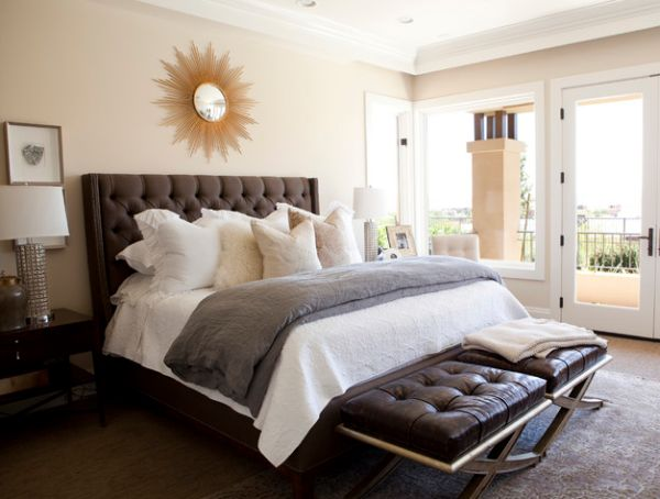 Traditional-bedroom-design-with-tufted-headboard-and-tufted-benches-at-foot
