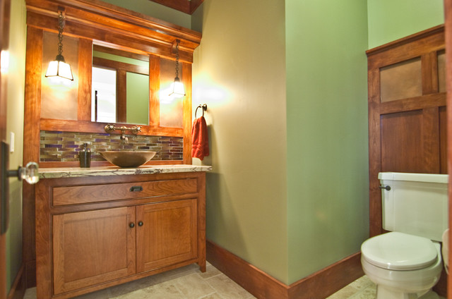 craftsman-bathroom-bathroom-vanity-antique-paint-colors-glass-tiles-green-walls