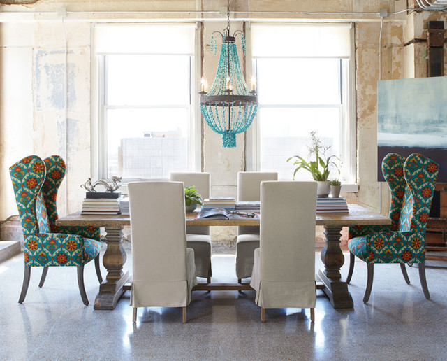 eclectic-dining-room-blue