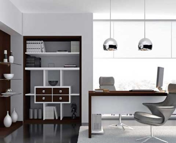 excellent-modern-home-office-design-with-elegant-silver-pendant-lamp-ideas-and-spacious-storage-space
