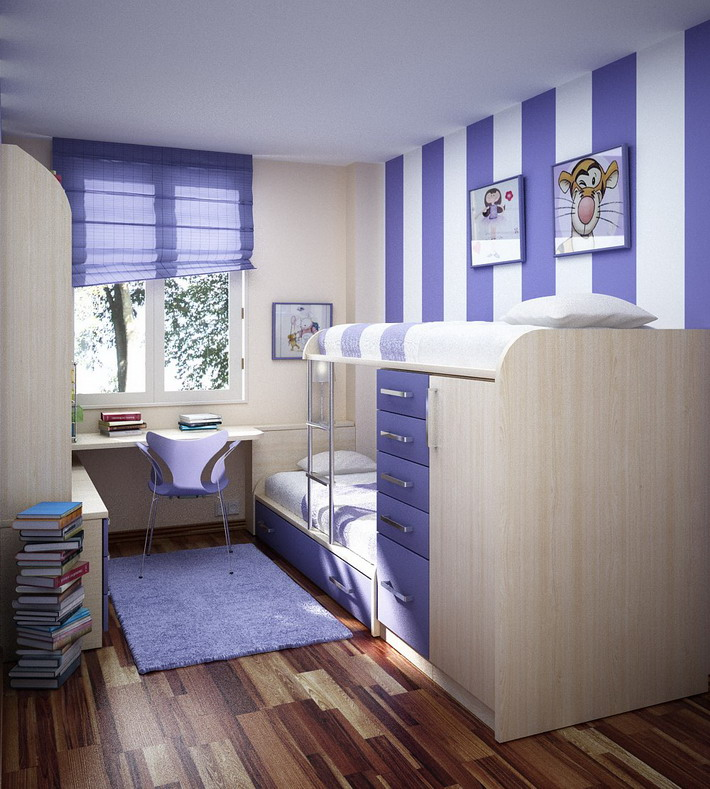 Bold-Purple-and-White-Stripes-Colors-in-Small-Bedrooms