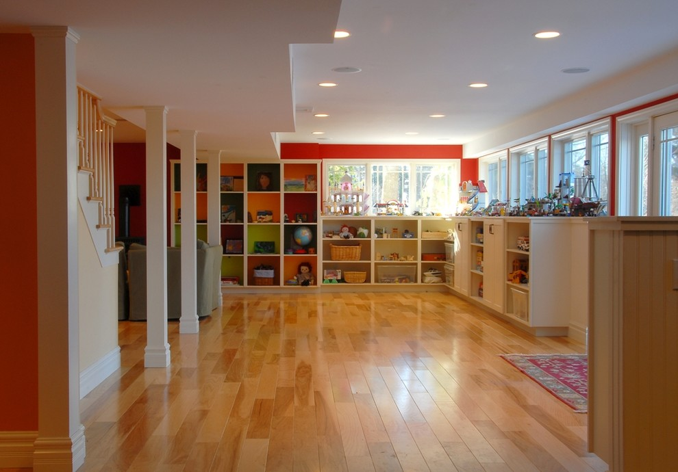 Elegant-Egress-Windows-trend-Burlington-Traditional-Basement-Decoration-ideas-with-basement-Basement-Storage-Basement-Windows-bold-colors-Box-Shelving-bright-colors-built-in-shelves