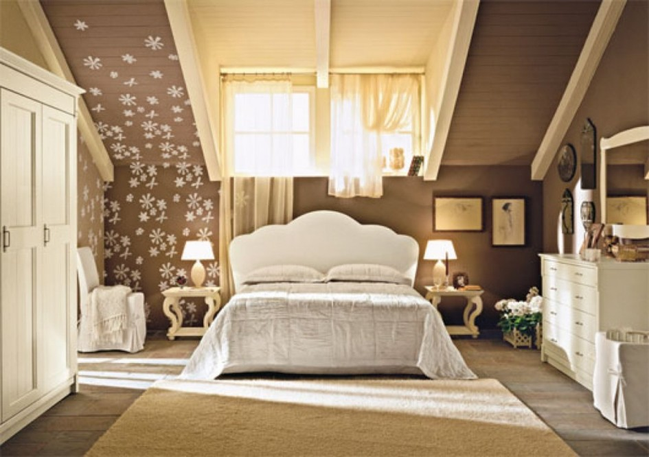 Nice-Country-Interior-Tuscan-Theme-Farmhouse-Bedroom-with-Sloping-Ceiling-Design-ideas