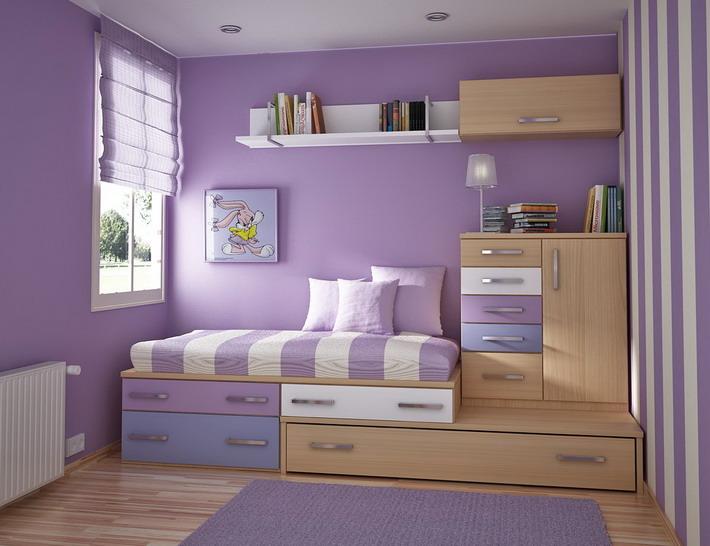 Purple-Color-Scheme-in-Small-Kids-Bedroom-Designs