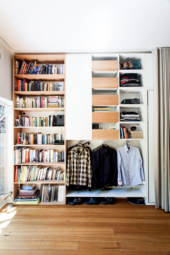 Splashy-Curtain-Tie-Back-Hooks-fashion-Melbourne-Contemporary-Closet-Decorating-ideas-with-built-in-book-shelves-built-in-wall-closet-ceiling-curtain-track-clever-storage-clothing