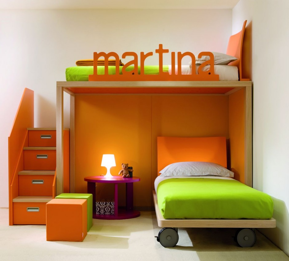 Stylish-Small-Space-White-Kids-Bedroom-Design-with-Beautiful-Loft-Bed-and-Orange-Functional-Staircase-for-Storage