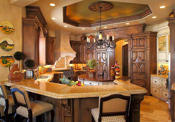 Vintage-Mediterranean-Kitchen-Design-with-Traditional-Wooden-Cupboard