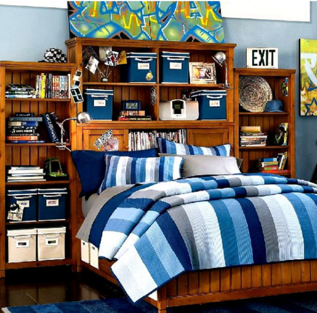 boys-bedroom-astonishing-wooden-bed-set-with-built-in-bookshelf-design-and-cool-grafitti-painting-and-blue-stripes-bed-sheets-awesome-teenagers-boy-bedroom-ideas