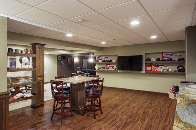 cool transitional-basement decor