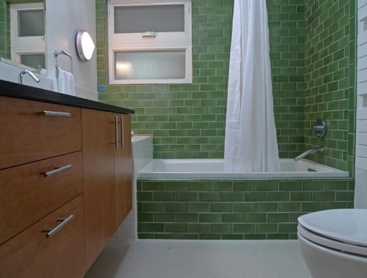 creative-nice-wonderful-amazing-cool-bathroom-remodel-mid-centrury-with-green-wall-brick-concept-design-with-small-bathtub