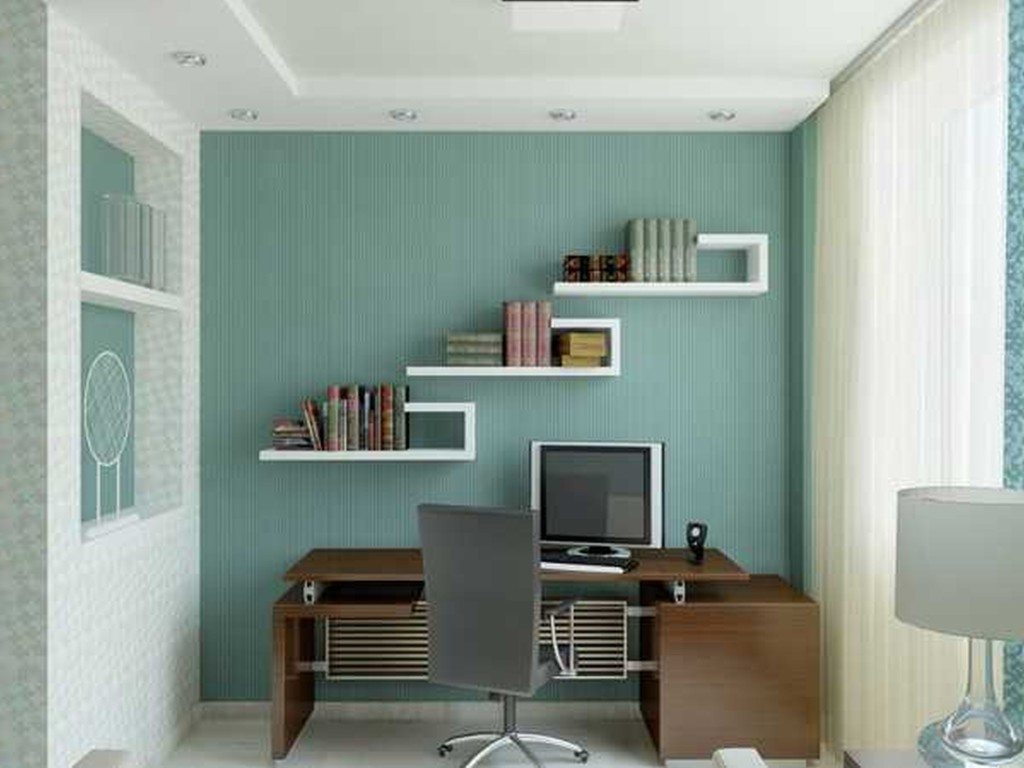 divine-industrial-home-office-design-ideas-with-blue-wall-paint-and-unique-wall-shelves