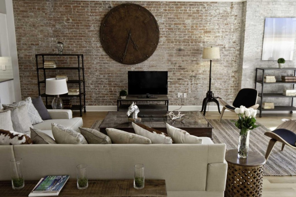industrial-living-room-decor-minimalist-design-with-big-natural-wood-clock-in-cool-industrial-warehouse-living-room-decor-on-living-room