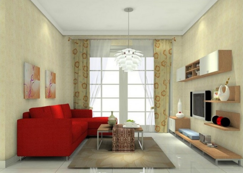 living-room with amazing red sofa