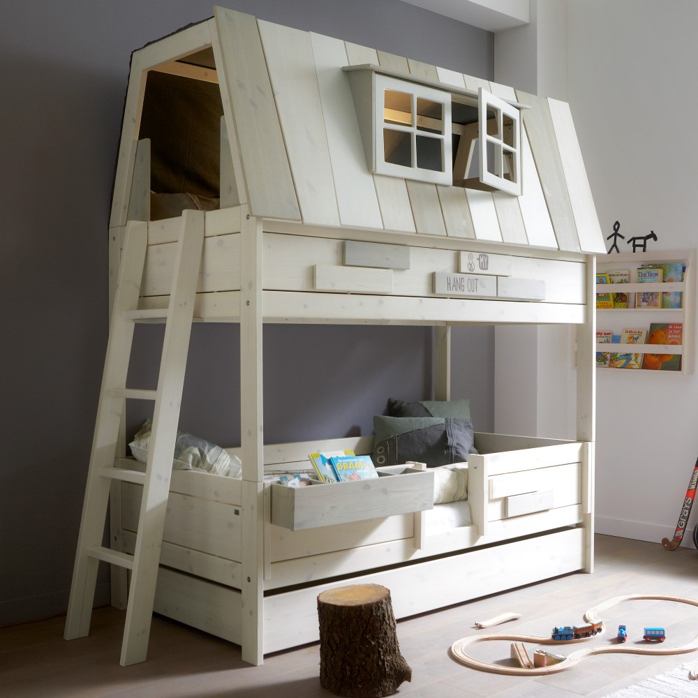 unusual-kids-bunk-bed-with-house-shaped-plus-dormer-windows-and-beautiful-ladder-design