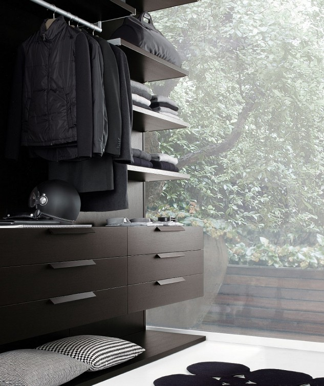 wonderful-greenery-sight-in-deluxe-walk-in-closet-with-cool-espresso-wood-furniture-and-unique-black-rug-633x755