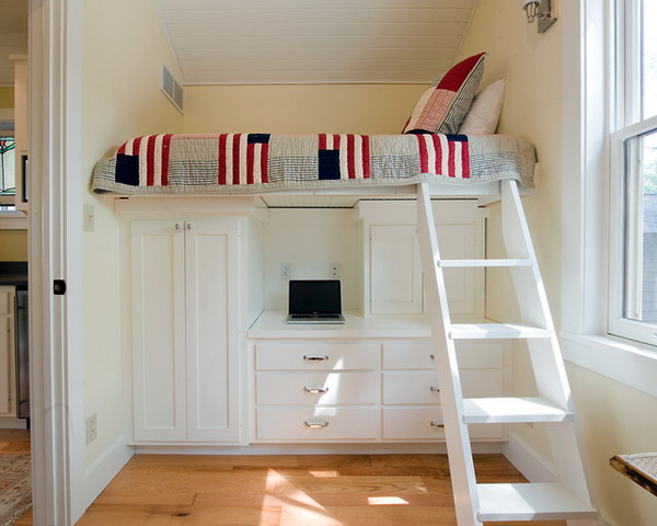 Compact-Small-Bedroom-with-Loft-Bed-and-Storage