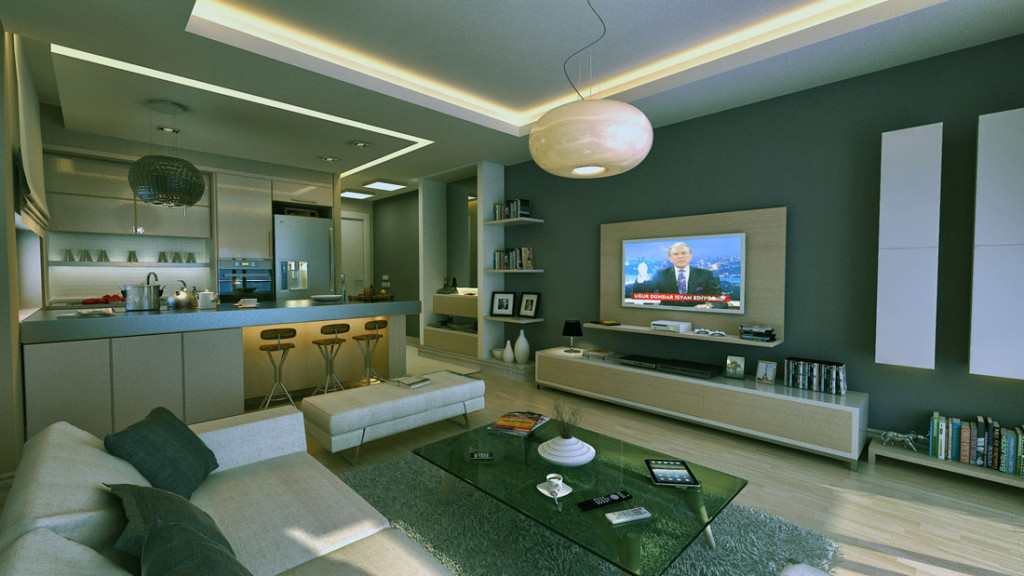 Modern-Living-Room-Apartment-with-Mini-Bar