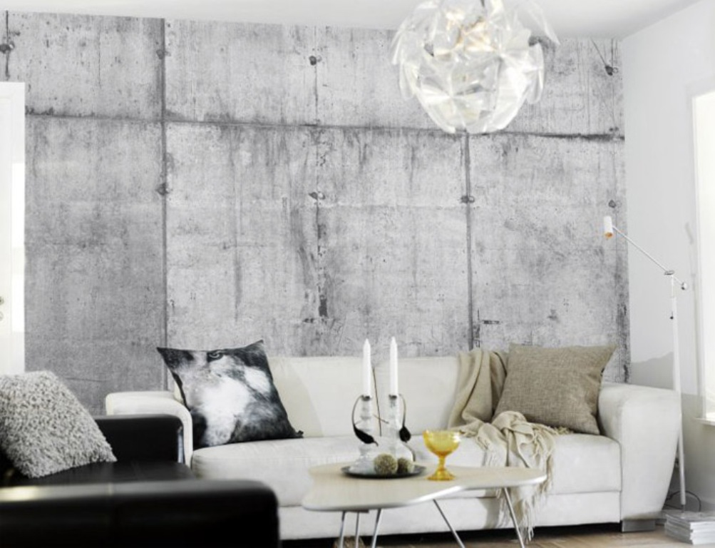 Shabby-Chic-Living-Room-with-Concrete-Wall