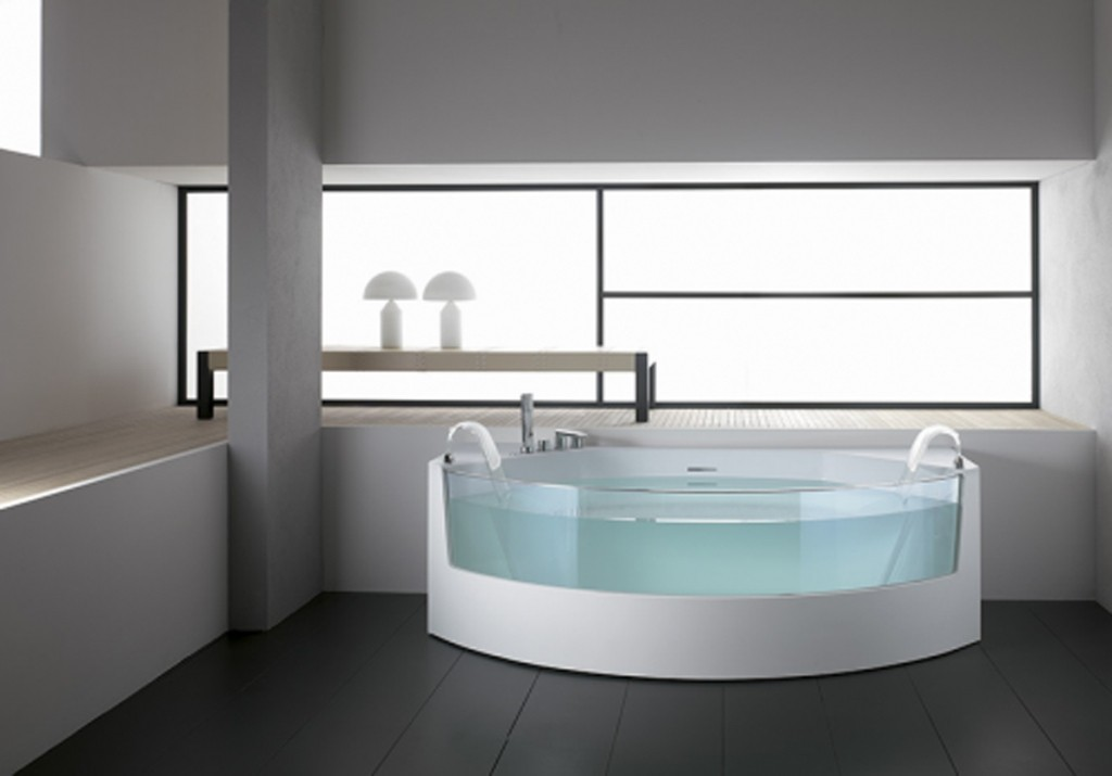 White-simple-design-bathtub-glass-barrier-shower