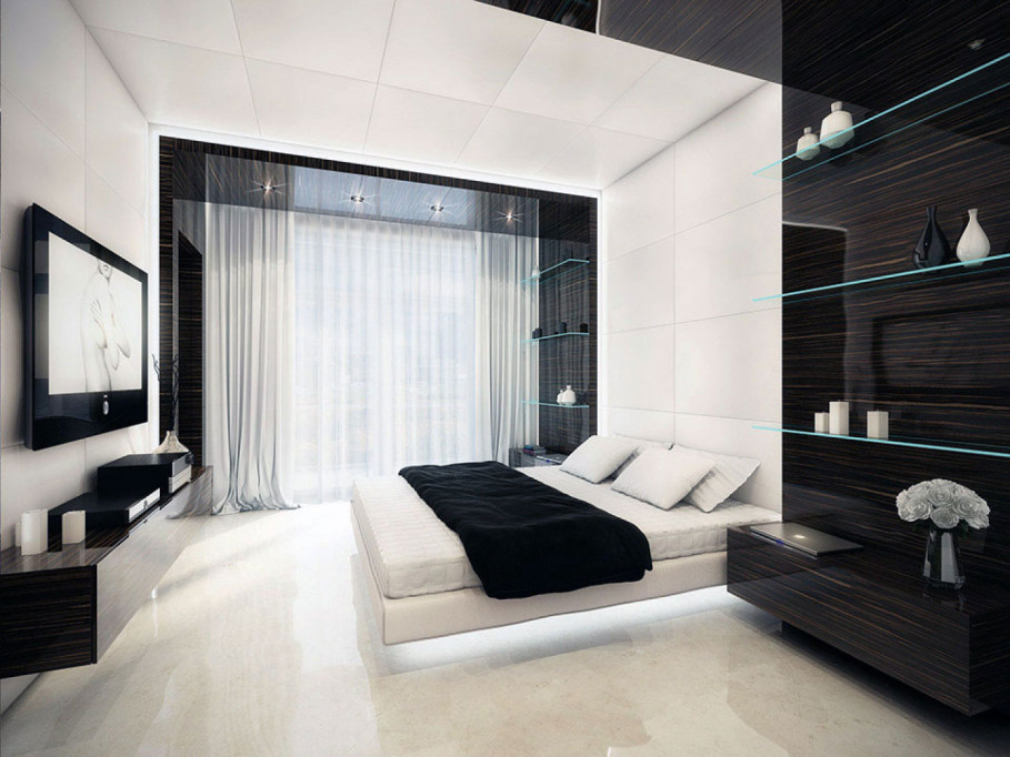 black-and-white-bedroom-filled