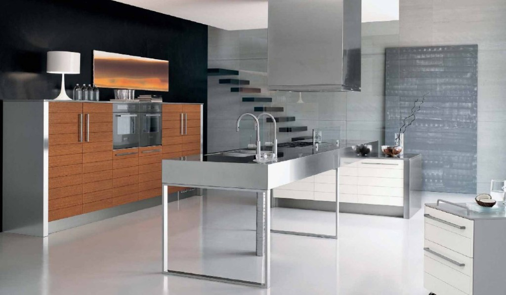 gas-with-kitchen-island-modern-stainless-steel