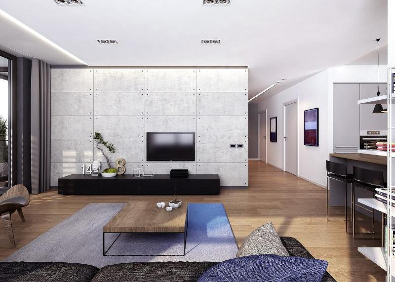 living-room-with-concrete-wall-and-wooen-low-table-