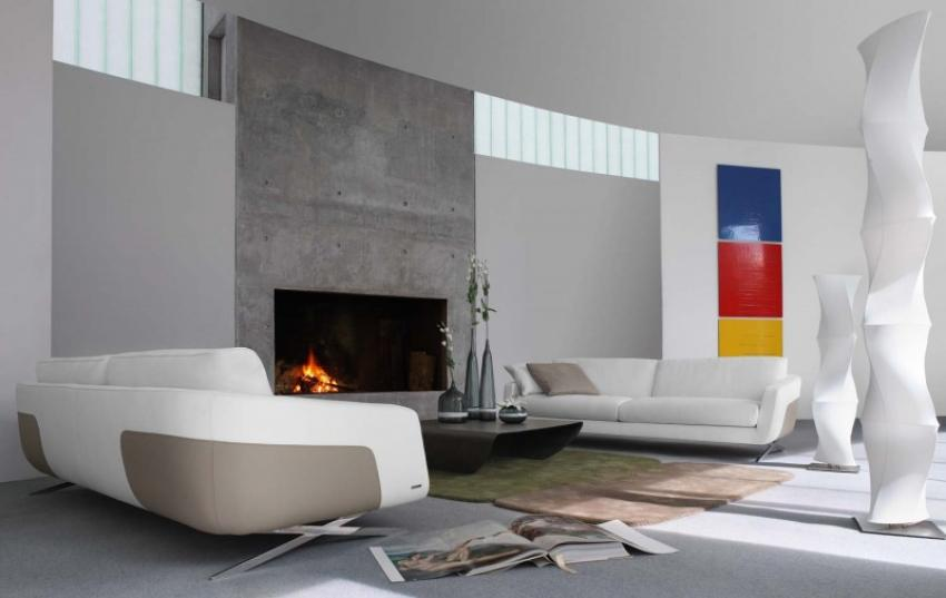 small-living-room-space-with-fireplace-concrete-wall-ideas