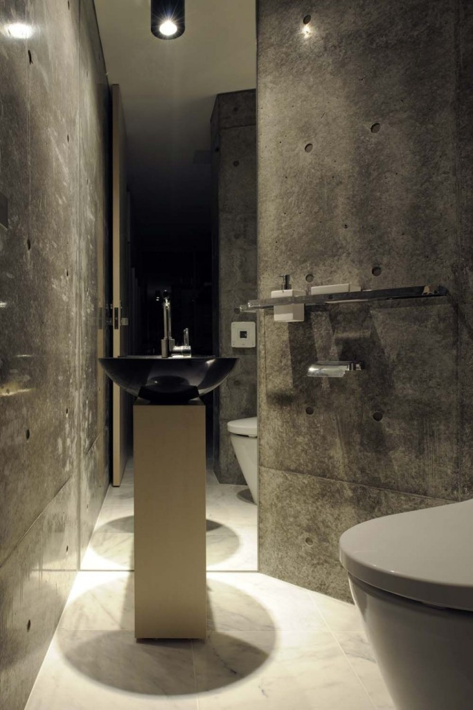 Awesome-Eco-Friendly-Bathroom-Design-Of-Endless-Concrete-With-black-vanity-