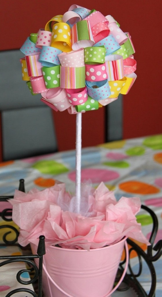 Baby-shower-decoration-ideas-girls-ribbon-topiary-pink-color-theme