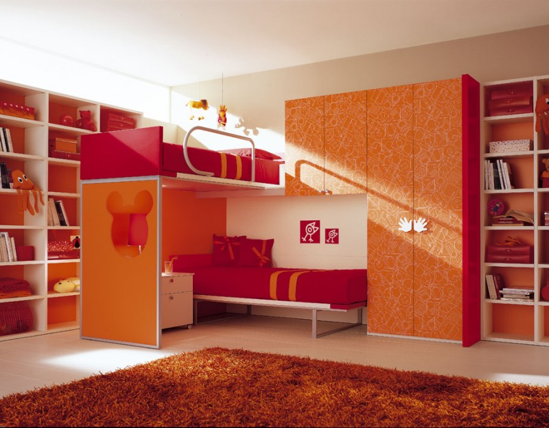 Decor-red-double-loft-beds-for-girls-bedroom-design-ideas