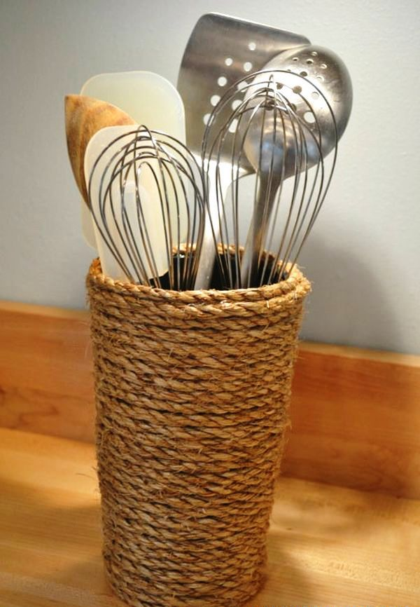 Excellent-Handmade-Home-Appliances-Including-Rope-Vase-for-Cooking-Utensils-Placed-on-Wooden-Bar-Suitable-Placed-in-Modern-Kitchen-Room