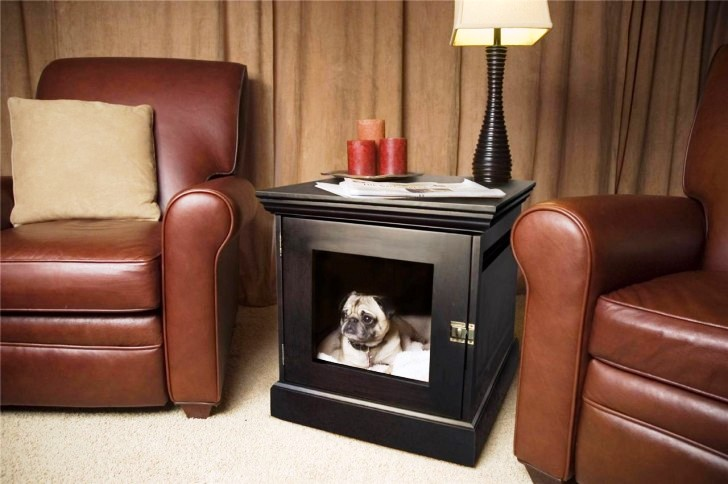 Stylish-dog-bed-and-crate-built-into-a-small-table