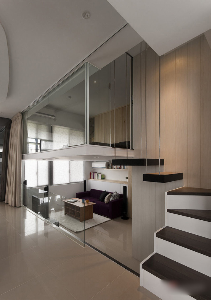 luxurious-small-apartment-with-loft-bedroom-idea