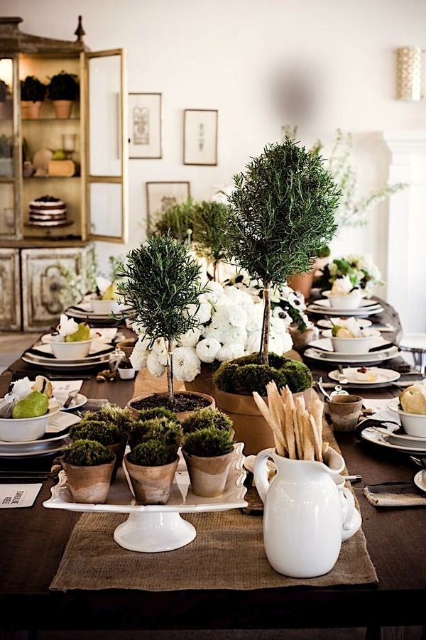 sweet-dining-room-decorating-herb-topiary-plants-white-decor