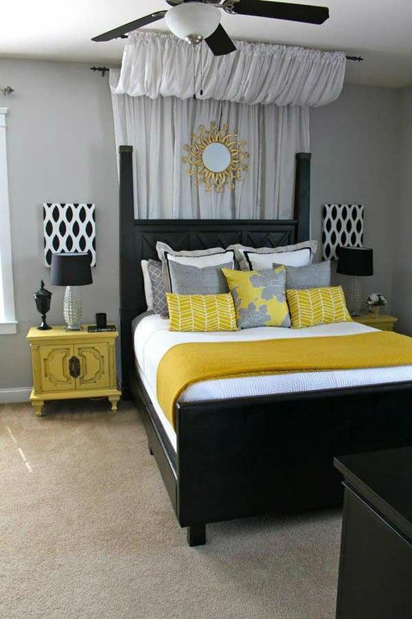 Gray-Black-White-Yellow-Bedroom-Color-Scheme