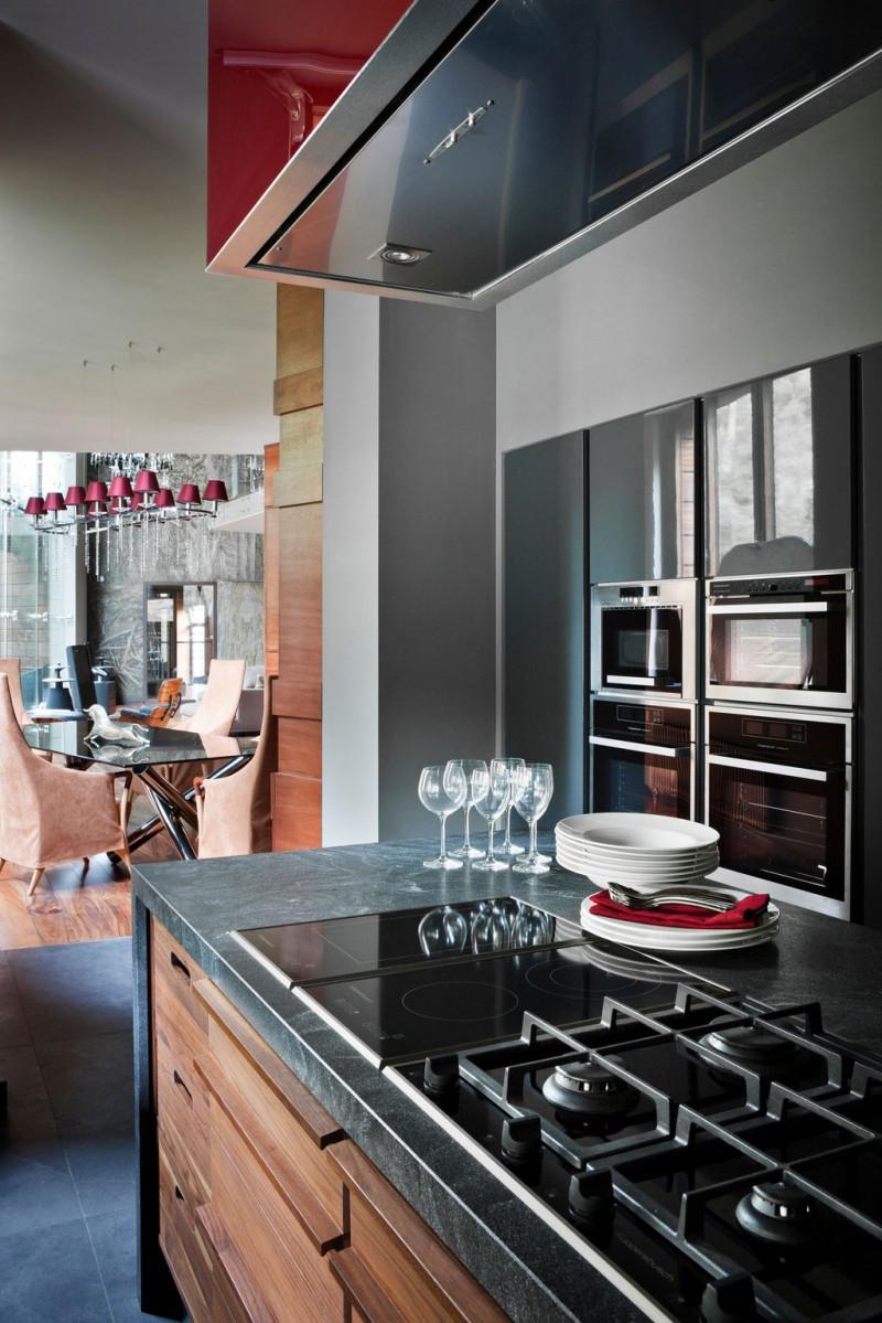 Brilliant Dark Kitchen Furniture Design With Gray Marble Countertop