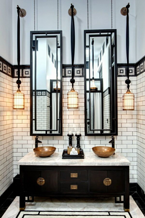 Black and White Industrial Bathroom
