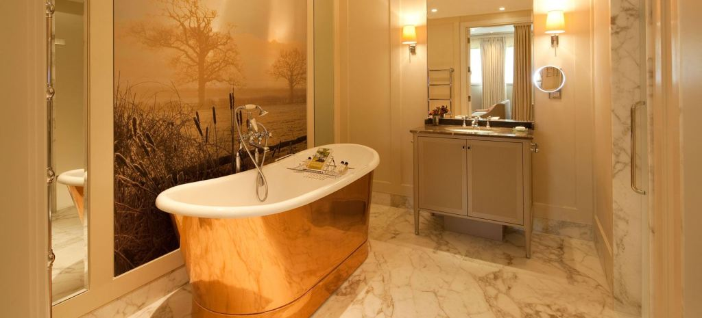 Luxurious bathroom with cooper bathtub.