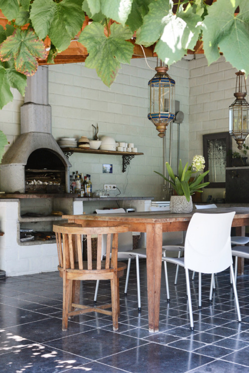 outdoor kitchen with dining