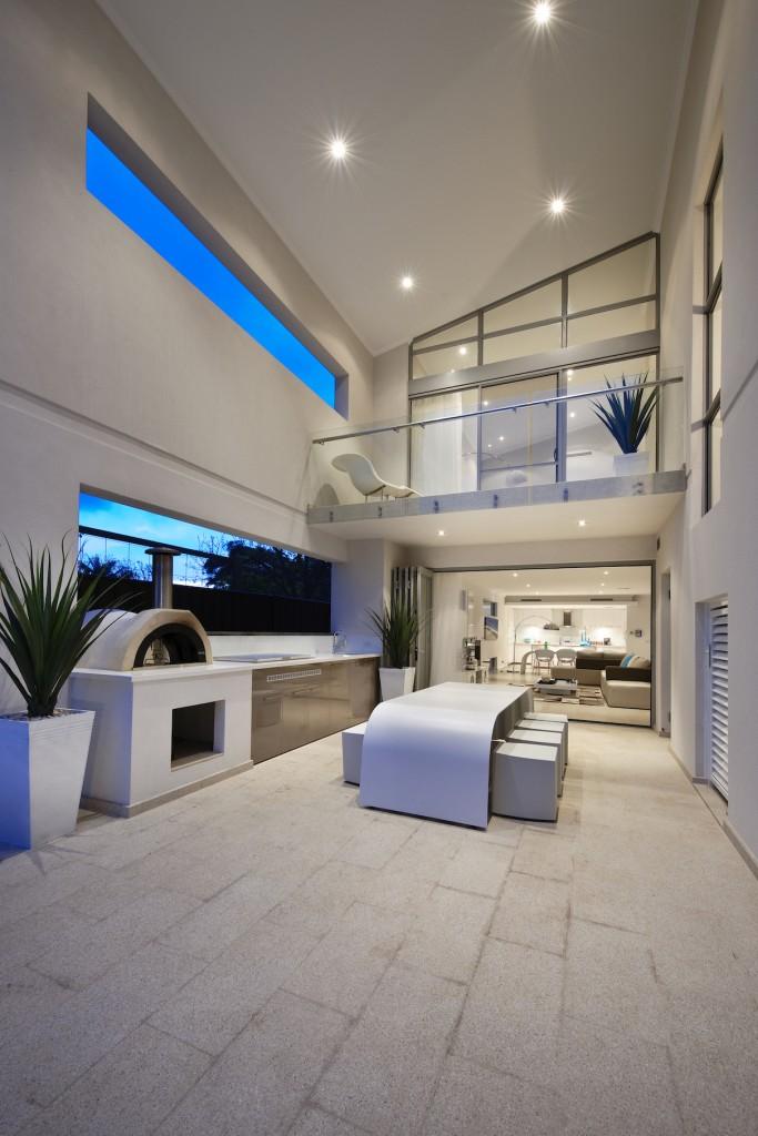white outdoor kitchen